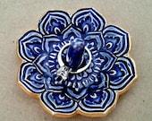 Ceramic Royal Mirror Blue Lotus Ring Holder Ring Dish  gold edged
