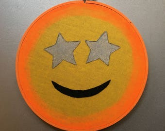 starry eyed - hand painted and embroidered imaginary emoji hoop art wall hanging