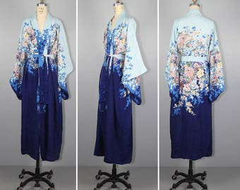 antique kimono / reversible / 1940s / art nouveau / floral / vintage robe