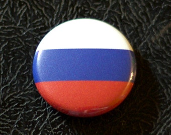 "1"" Russia flag button, country, pin, badge, pinback, Made in USA"