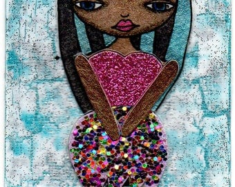 ACEO/ATC - Black & Turquoise-Haired Girl with Glitter Dress