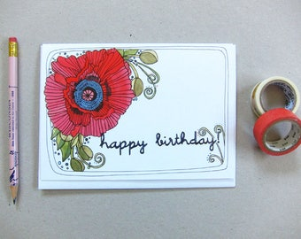 Birthday Card - Greeting Card - Blank Birthday Card - Floral Birthday Card - Illustrated Birthday Card - Poppy Happy Birthday Card