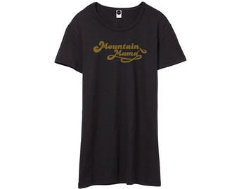 Outdoors Mountain Mama Graphic T-shirt • Black Vintage 70s Style Tee Shirts • Womens Print Top • Printed Tshirts • Bohemian Boho Clothing