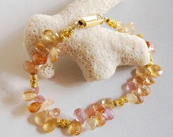 Gold Topaz Bracelet Imperial Topaz Golden Gemstone Bracelet Gold Matching Earrings Gold Pink Topaz Fine Gemstone Jewelry