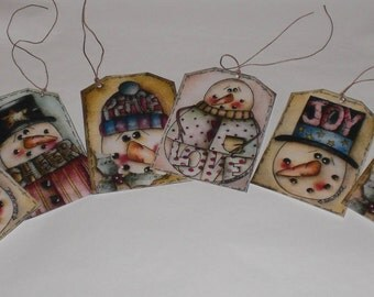 6 Assorted Primitive Whimsical Winter Snowman Christmas Hang Tags Gift Ties Ornies Scrapbooking Embellishments Holiday Tree Ornaments