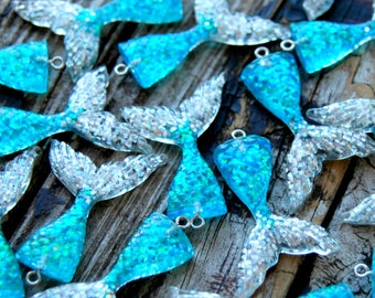 4pcs . Turquoise & Silver Mermaid Tails . Mermaid Pendants Charms . Mermaid Party Favors . Bridal Shower Decorations . Always Be A Mermaid