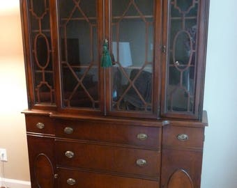 Antique Breakfront Desk, Mahogany Breakfront Cabinet, Sheraton Breakfront Desk, Mahogany Bookcase, Mahogany China Cabinet, Local Pickup Only