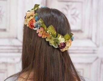 Bridal Hair Crown, Gold Floral Wreath, Vintage Style Headpiece, Autumn Bridal Crown, Flower Crown, Woodland Wedding, Rustic Circlet