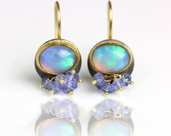 Solid Ethiopian Opal Dangle Earrings with Tanzanite Clusters, 22k, 18k Gold and Silver