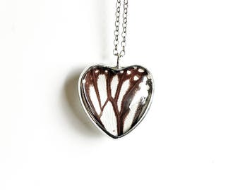 Real White Monarch Butterfly Wing Necklace. Heart Butterfly Necklace. Nature Jewelry. Black and White Butterfly Necklace.Heart Pendant