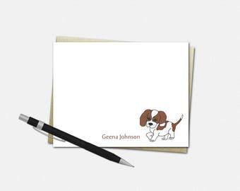 Personalized Beagle Dog Note Cards - Beagle Dog Note Card - Personalized Flat Note Card - Stationery for Kids - Custom Beagle Dog Note Cards