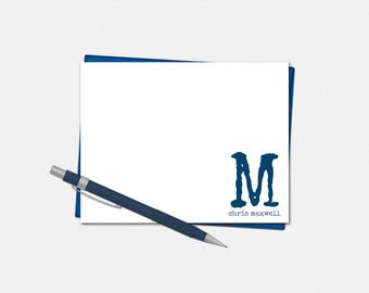 Personalized Modern Monogram Note Cards - Set of 10 - Flat Note Card - Men's Stationery - Masculine Note Card - Monogrammed Note Card