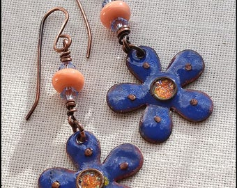 Enameled copper charms, lampwork, and crystal earrings