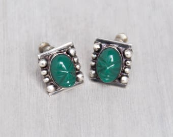 Vintage Sterling Silver Mask Earrings - green glass or onyx tribal face cabs in square settings - Mexican Mexico