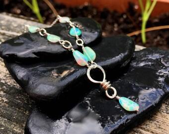 Genuine Opal Gemstone Necklace, Sterling Silver, Opal Gem Nuggets, Handmade Jewelry, 18 Inch, Handmade Jewelry, Wirewrap, October Birthstone