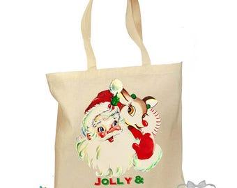 Santa Tote Bag - Christmas Gift Bag - Retro Gift Canvas Vintage Fabric Personalized Canvas Bag - Mid Century Christmas - Kids Christmas Bag