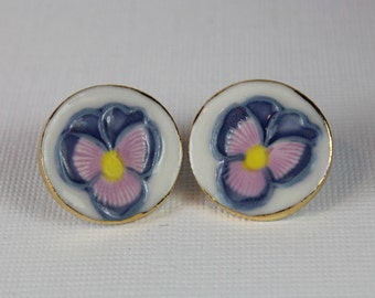 Pansy Earrings Handmade Porcelain Ceramic Jewelry