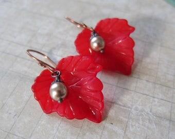 Harvest Bower - Lightweight Lucite Leaf Earrings in Crimson