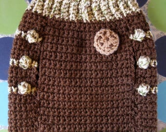 Size S - Dog Sweater Vest - Chocolate Chip Cookie Dough - Ready to Ship Today