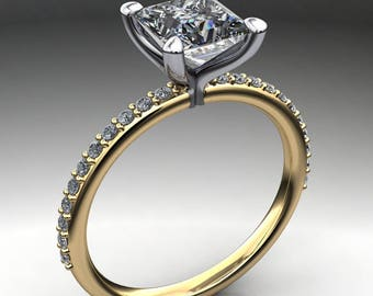 shay ring - 1.3 carat princess cut NEO moissanite engagement ring, square moissanite ring