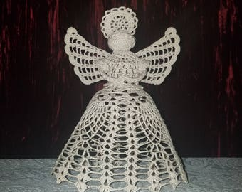 Vintage Handmade Angel Tree Topper, Tea Stained Crochet, 9 inches
