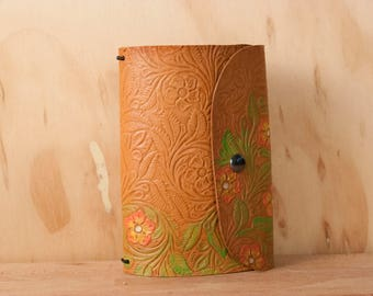 Tooled Leather Travelers Notebook - Midori Notebook for Moleskine Cahier - Handmade Floral pattern in Pink, Yellow, Green, Antique Tan