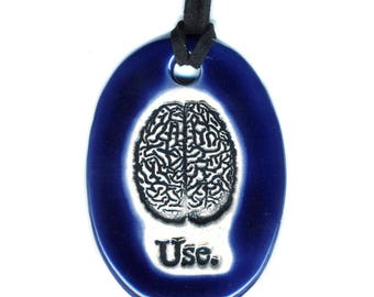 Use Your Brain Ceramic Necklace in Cobalt Blue