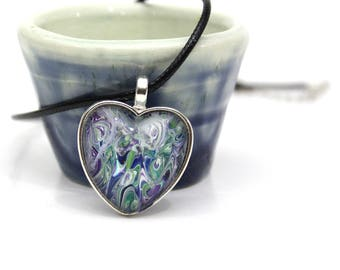Heart Made with Paint Pendant in Green, Purple, and Blue