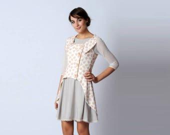 White womens jacket, Pink floral jacket, High low dress Jacket, White linen jacket, Womens clothing, Bridal jacket, Bride jacket UK12