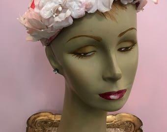 1950s hat pink hat floral hat vintage hat summer hat vintage millinery 50s hat bridesmaid hat coral hat