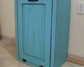 Trash Can - Trash Bin - Wood Tilt out Wooden Trash Box - Cabinet to hide Trash - Kitchen Garbage - Tip out trash can - Kitchen Laundry Room