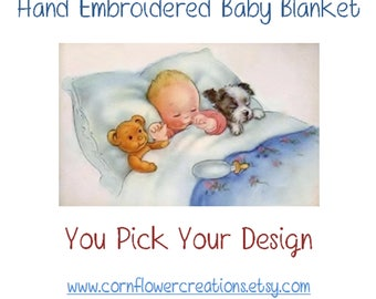 Hand Embroidered Hooded Swaddling Blanket -  by Cornflower Creations -  PICK YOUR DESIGN