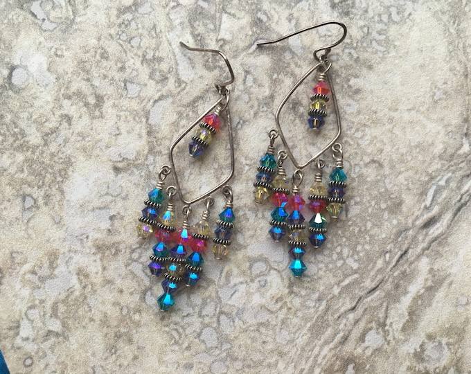 Summer Swarovski Chandelier Earrings Sterling Silver