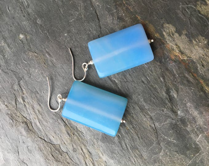 Smooth Sky Blue Chalcedony Rectangle Earrings