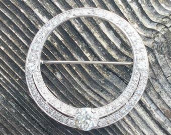 Art Deco Large Diamond Brooch or Pendant Necklace Conversion, Stunning Old Cut Diamonds, 2.34 ctw, Platinum & 14K, GIA Appraisal 8995.00