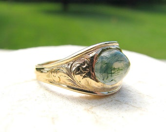Lovely Gold Moss Agate Ring, Solid 14K Gold with Foliate Details, Moss Agate Chalcedony Cabochon, Victorian Signet Style Ring