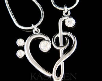 Swarovski Crystal TREBLE G Bass CLEF Love Music Lover Musical Note Heart 2 Charm Necklace Set Jewelry Best Friends BFF Mother Christmas Gift