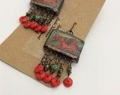ABO Artisan Made Ceramic Dragon Dangle Earrings