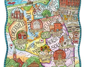 "Natick Massachusetts Map Art Print 8""x 10"""
