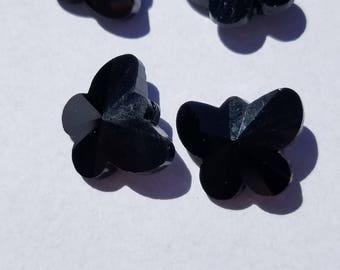 Black Butterfly Glass beads (5)
