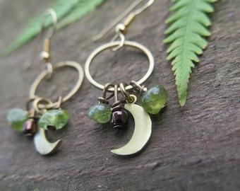 Dangly Earrings Boho Luxe Gold Filled Hooks - Luxury Bohemian Gemstone Crystal Jewelry - Crescent Moon Green - Peridot August Birthstone