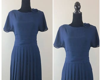 Adelaide Vintage Dress, Vintage Blue Dress, Disneybound, Rockabilly, Navy Blue Dress, Zooey Deschanel, Pleated Dress, 1950's, Mad Men, VLV
