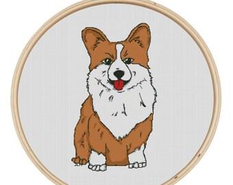 Cross Stitch Pattern - Corgi Love Dog Sitting Up by JessicaLynnOriginal Corgi Butt Instant Download Pattern