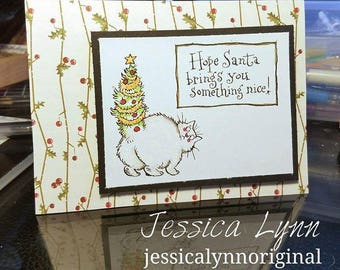 Handmade Card featuring an adorable Christmas Tree Cat with the sentiment Christmas Card Stocking Stuffer