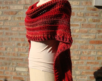 Red and Orange Blend Poncho - Shawl - Coverup - Sweater- Hand Crochet - Custom Colors