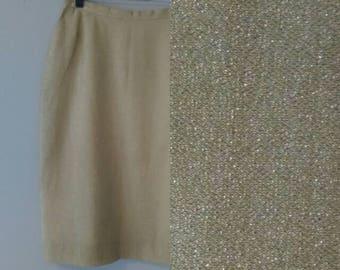 1950s Gold Lamé Bombshell Pencil Skirt