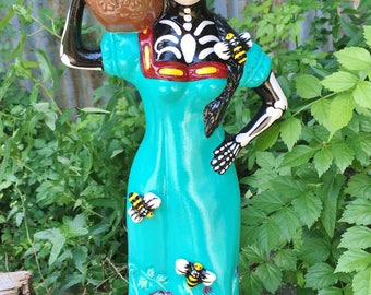 Day of the Dead Skeleton Beauty with Bees Statue Mexican Folk Art Figurine
