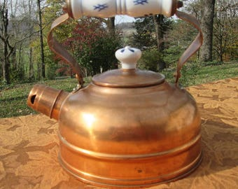 Vintage Copper Tea Kettle - Blue and White China - Country Farmhouse Kitchen