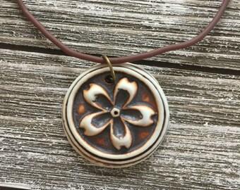 Rustic Flower Porcelain Pendant