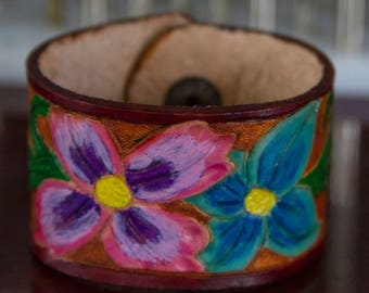 Hand Tooled Floral Leather Cuff Bracelet